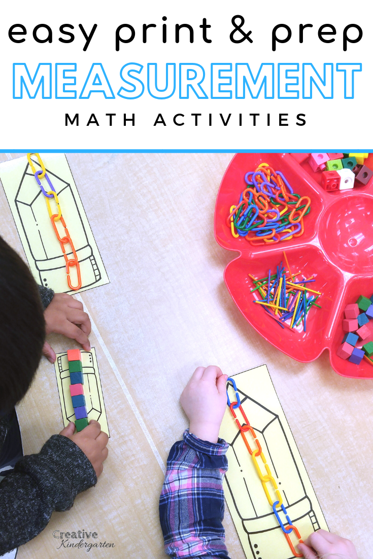 Easy Print And Prep Kindergarten Math Centers: Measurement & Time