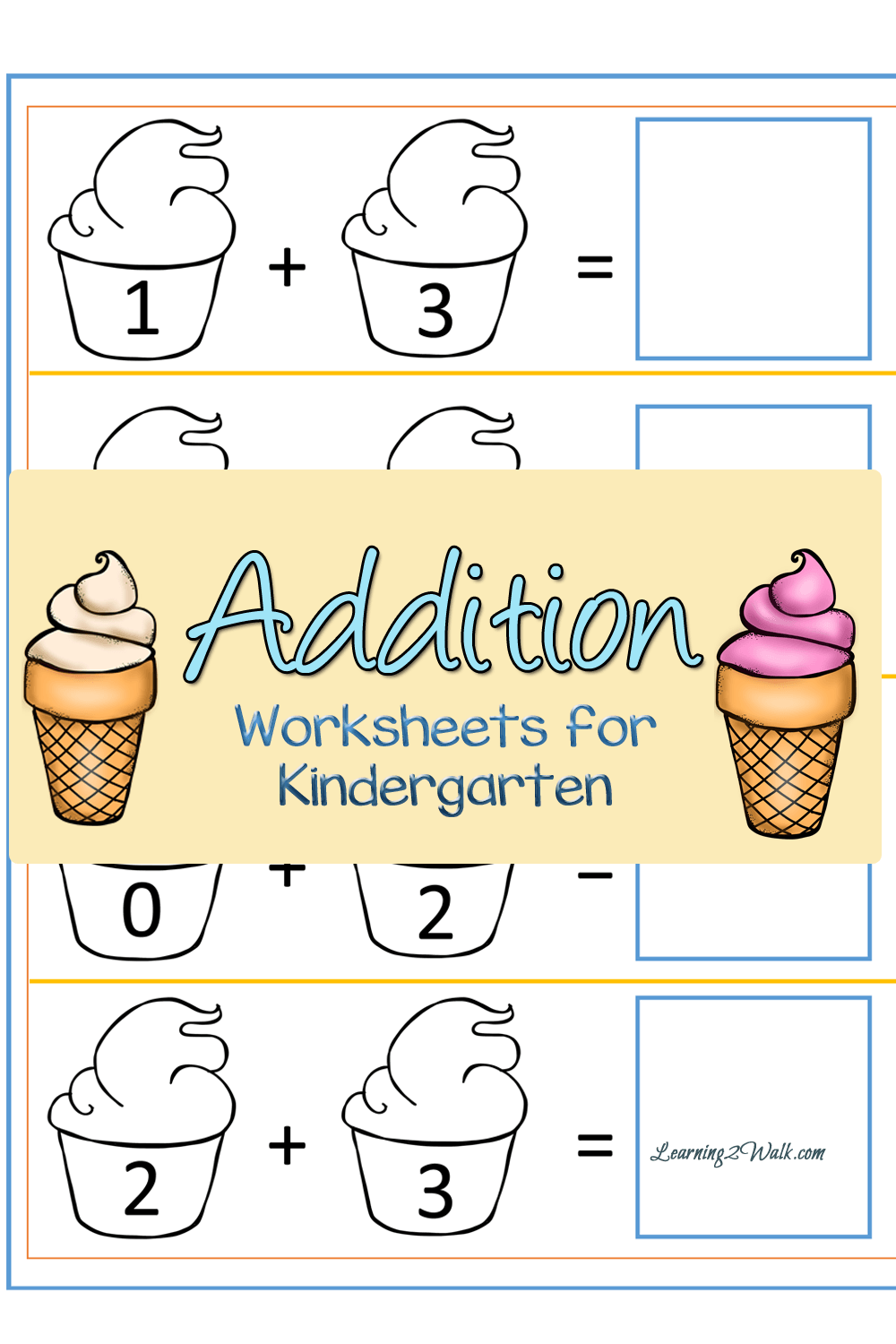 Ice Cream Addition Worksheets For Kindergarten That Your