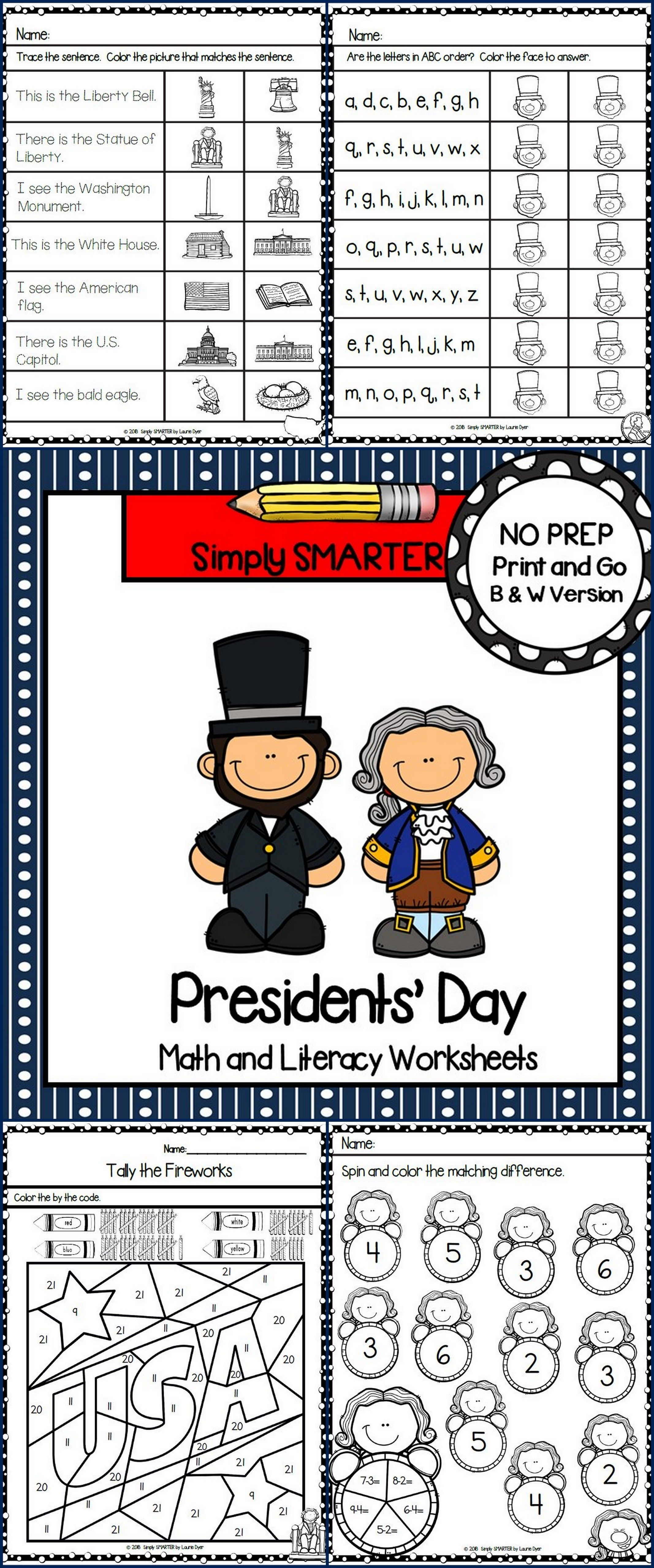 Presidents' Day Themed Kindergarten Math And Literacy