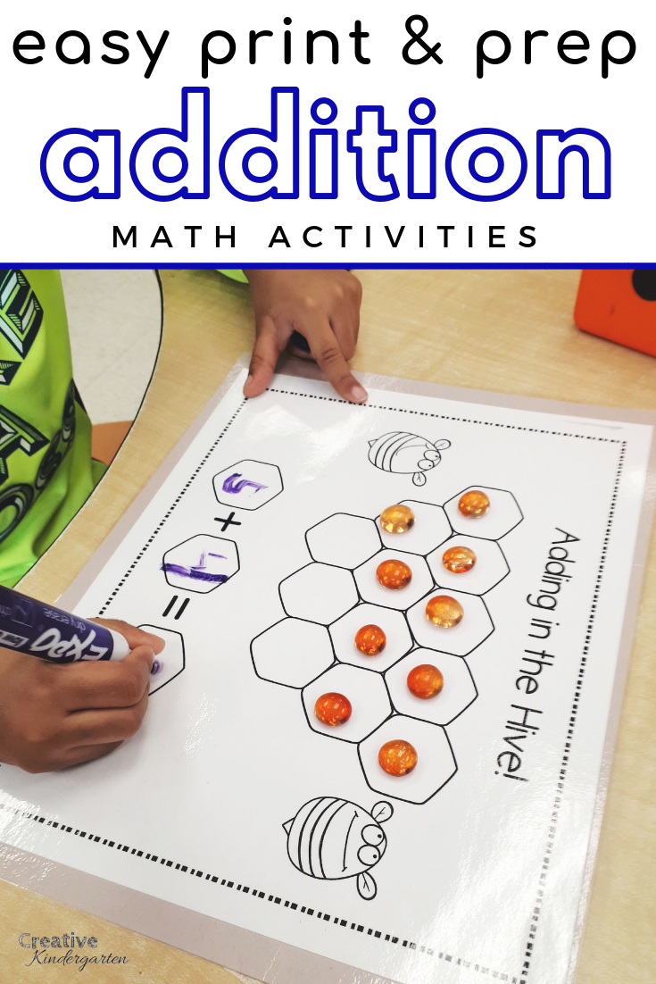 Easy Print And Prep Kindergarten Math Centers: Addition
