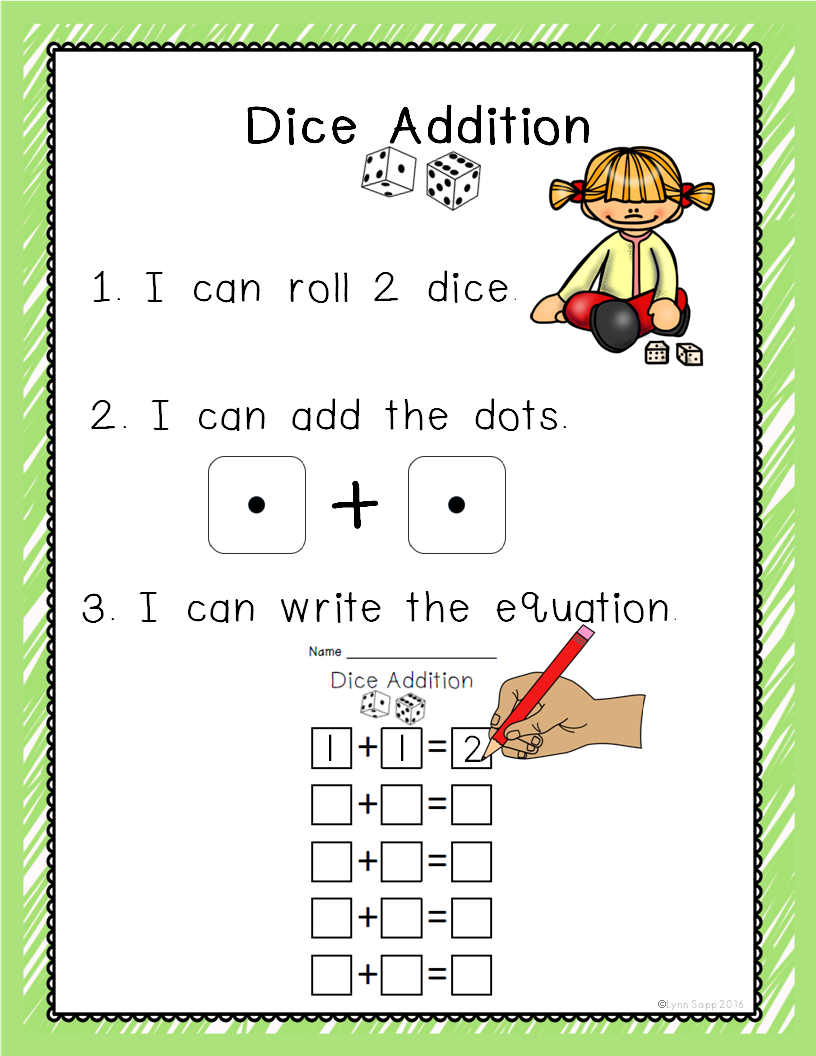 Dice Addition | School Stuff | Kindergarten Math, Kindergarten Math