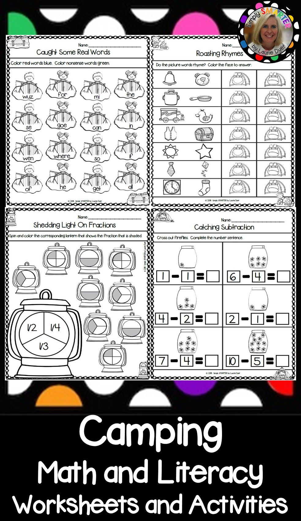 Camping Themed Kindergarten Math And Literacy Worksheets And