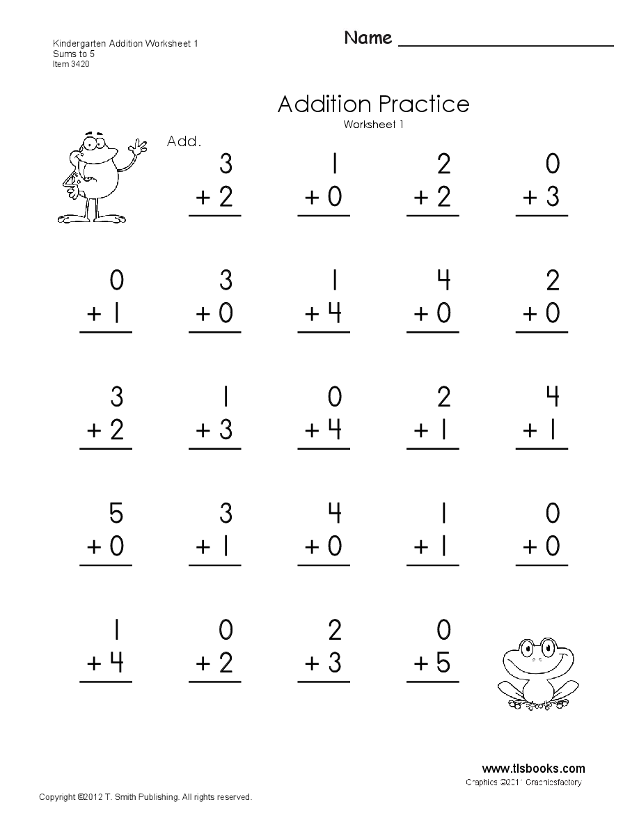Kindergarten Addition Worksheets 1 And 2   Numeracy