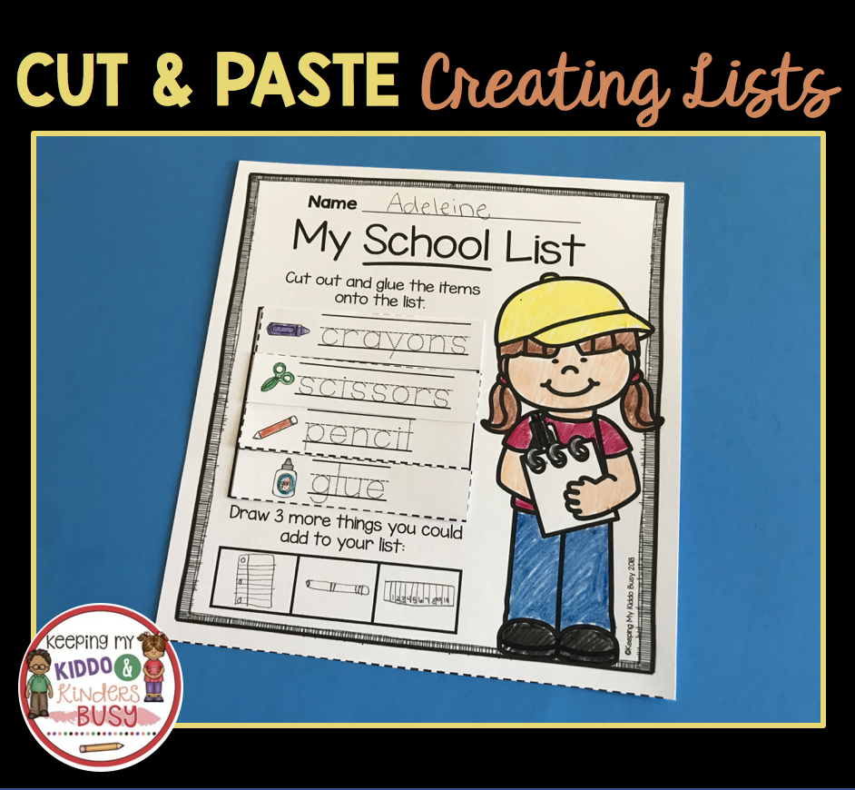 Writing Lists In Kindergarten - Unit 2 | K-writing