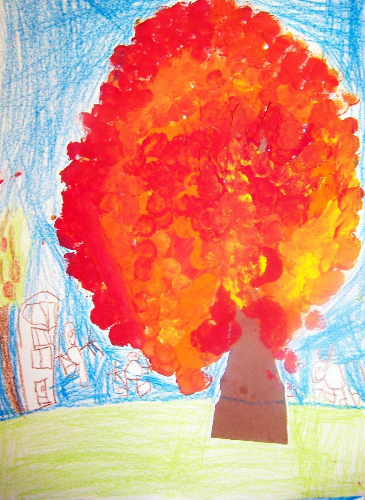 Art Room 104: Forgot To Post This!: Kindergarten Fall Trees
