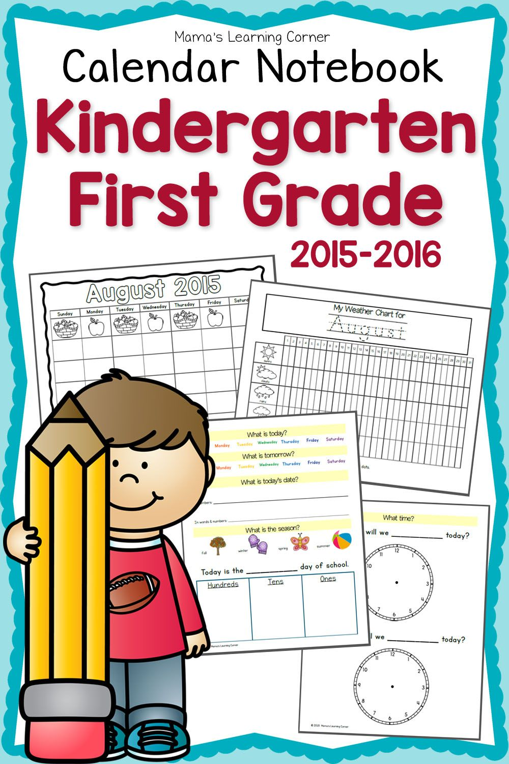 Kindergarten-first Grade Calendar Notebook | School