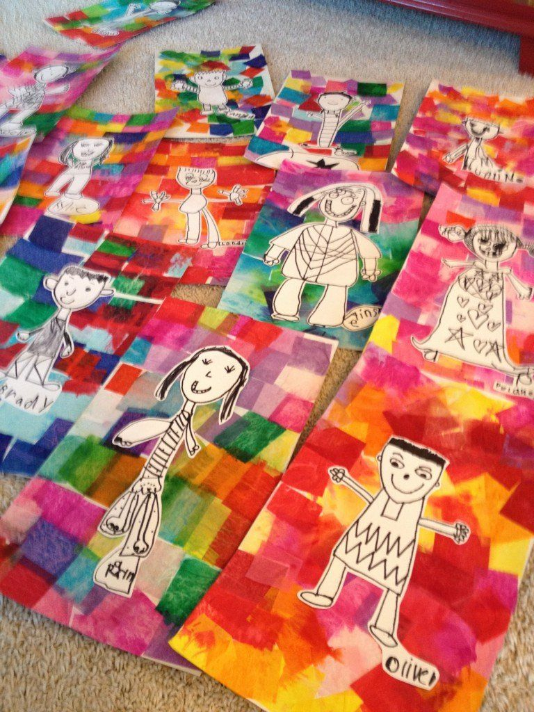 Kindergarten Self Portraits On Tissue Paper Backgrounds
