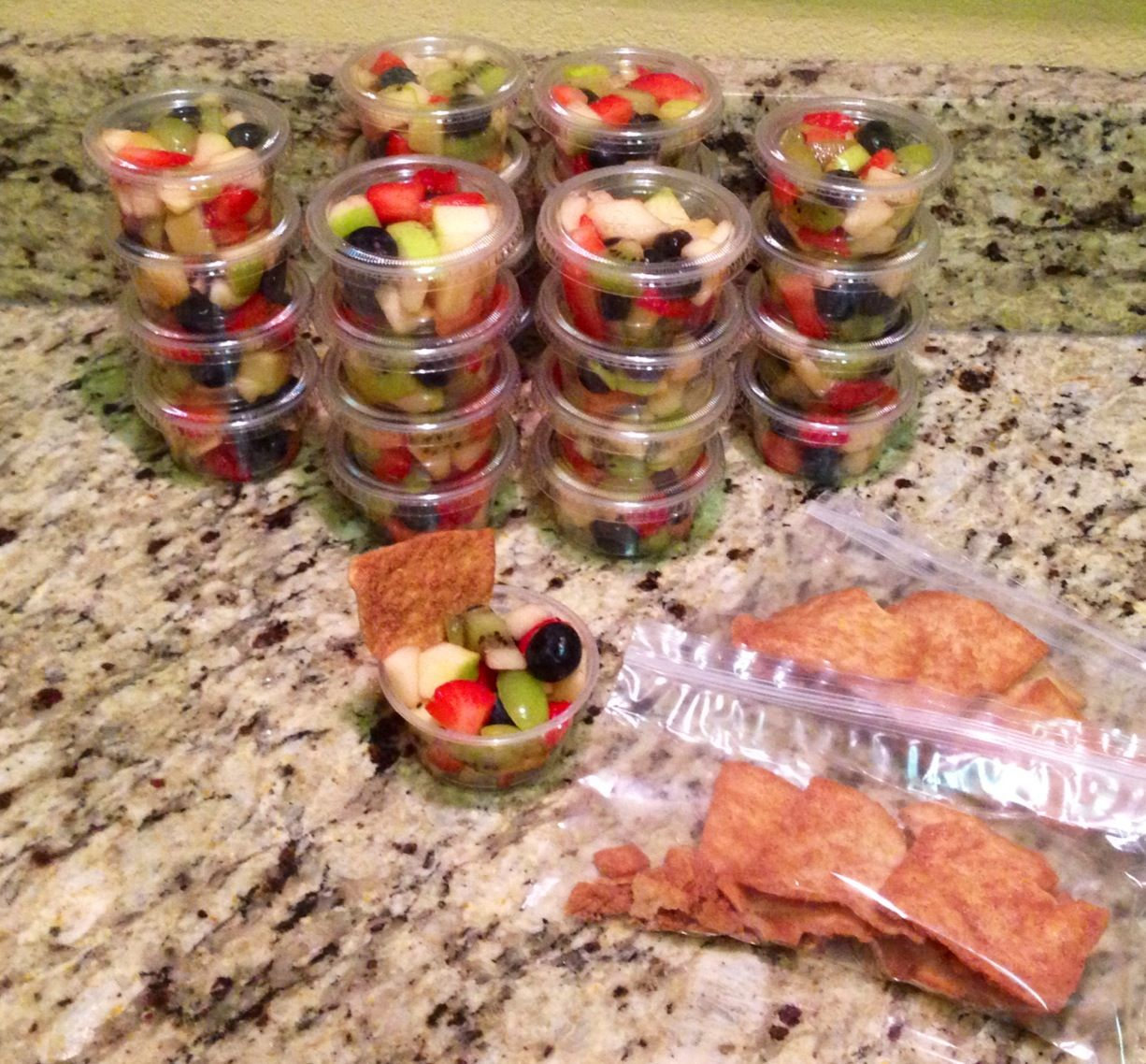 Kindergarten Class Snack- Fruit Salad Cups With Stacy's