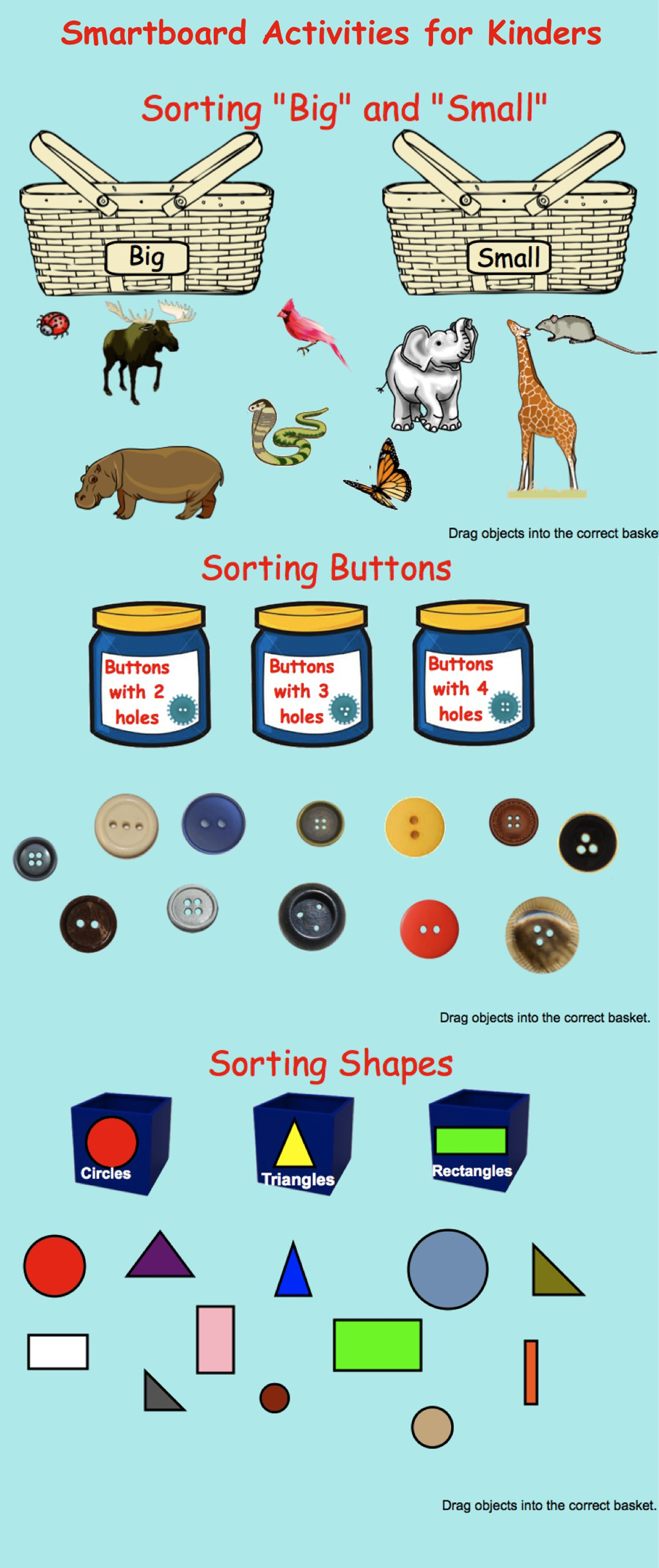 Smartboard: Kindergarten Sorting (shapes, Numbers) With