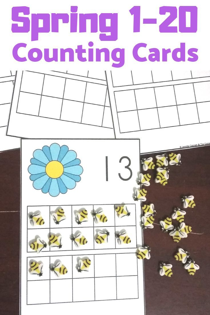 Spring Counting Mats 1-20 With Spring Flowers | Kindergarten