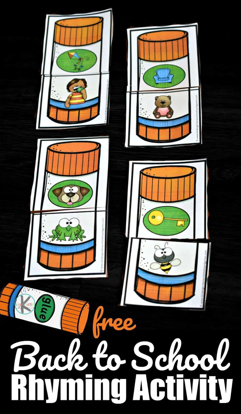 Free Back To School Rhyming Activity For Kindergarten And
