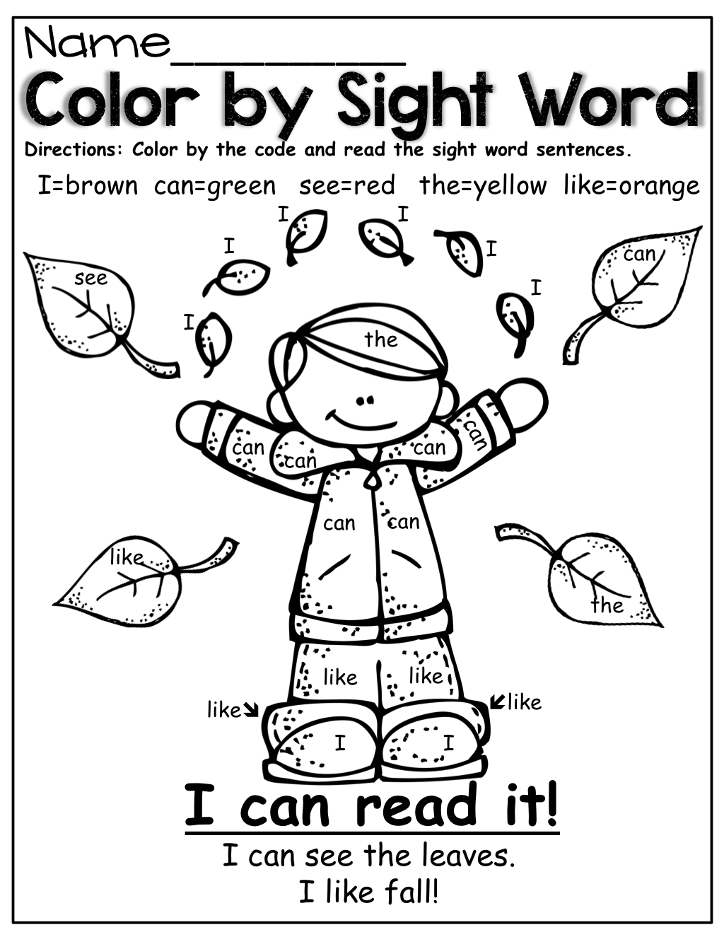 Color By Sight Word Fall Style Kindergarten Sight Word
