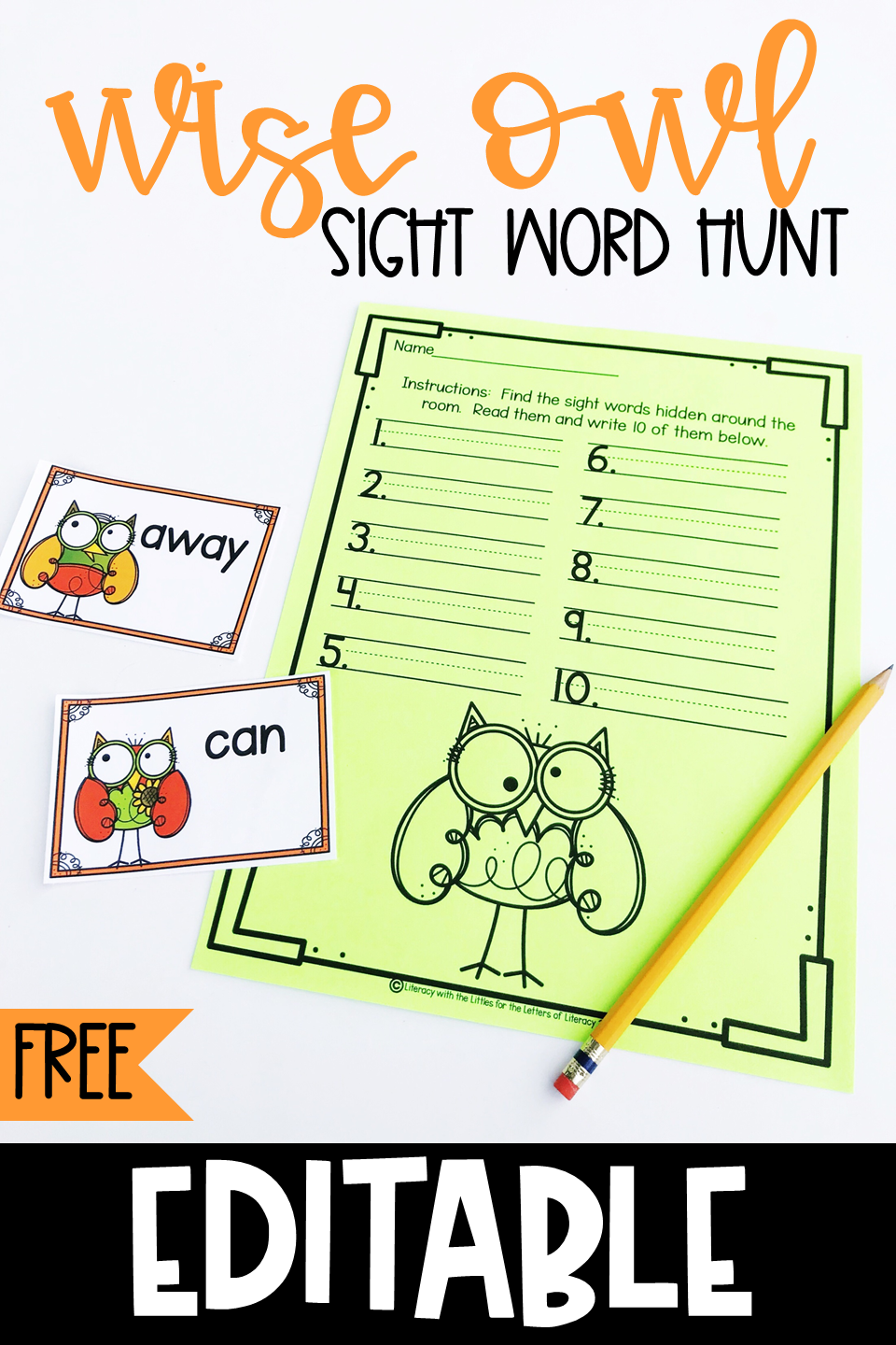Wise Owl Editable Sight Word Center For Kindergarten