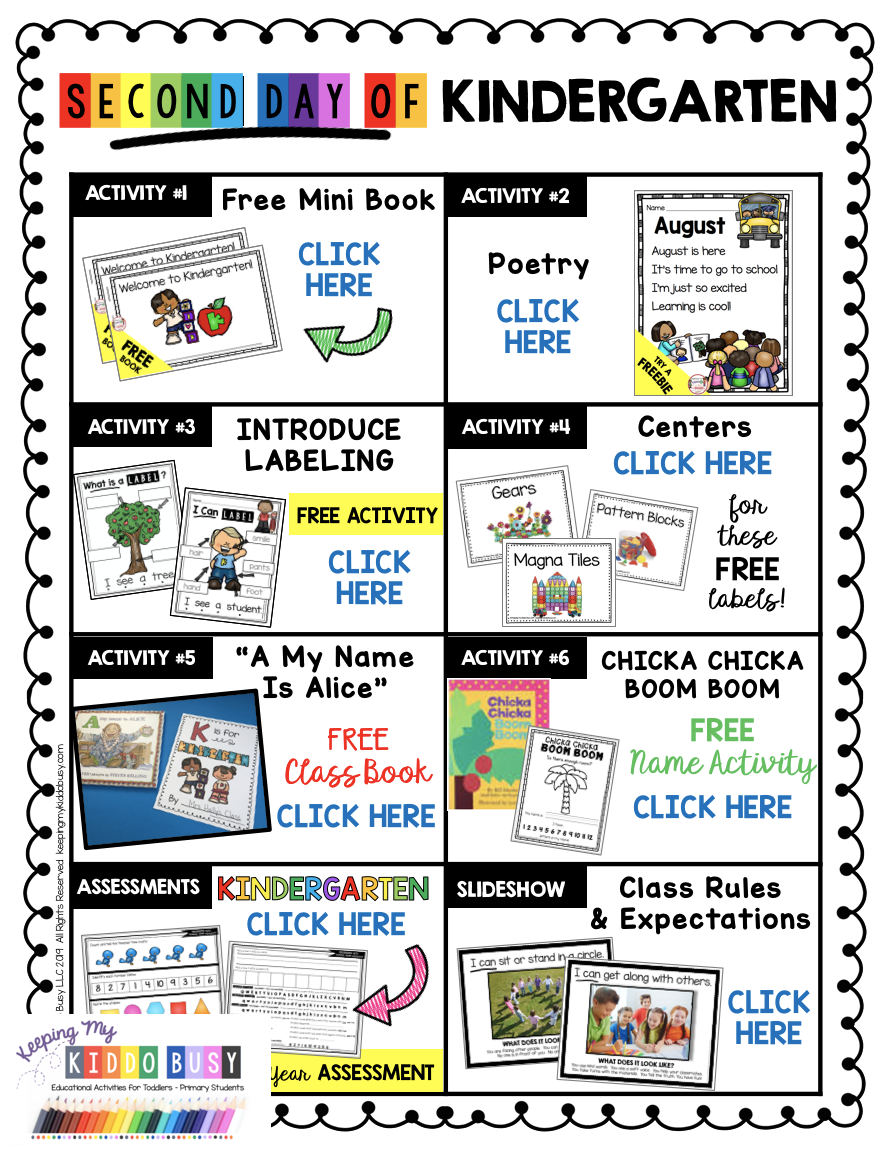 First Week Of Kindergarten - Free Lesson Plans For The First