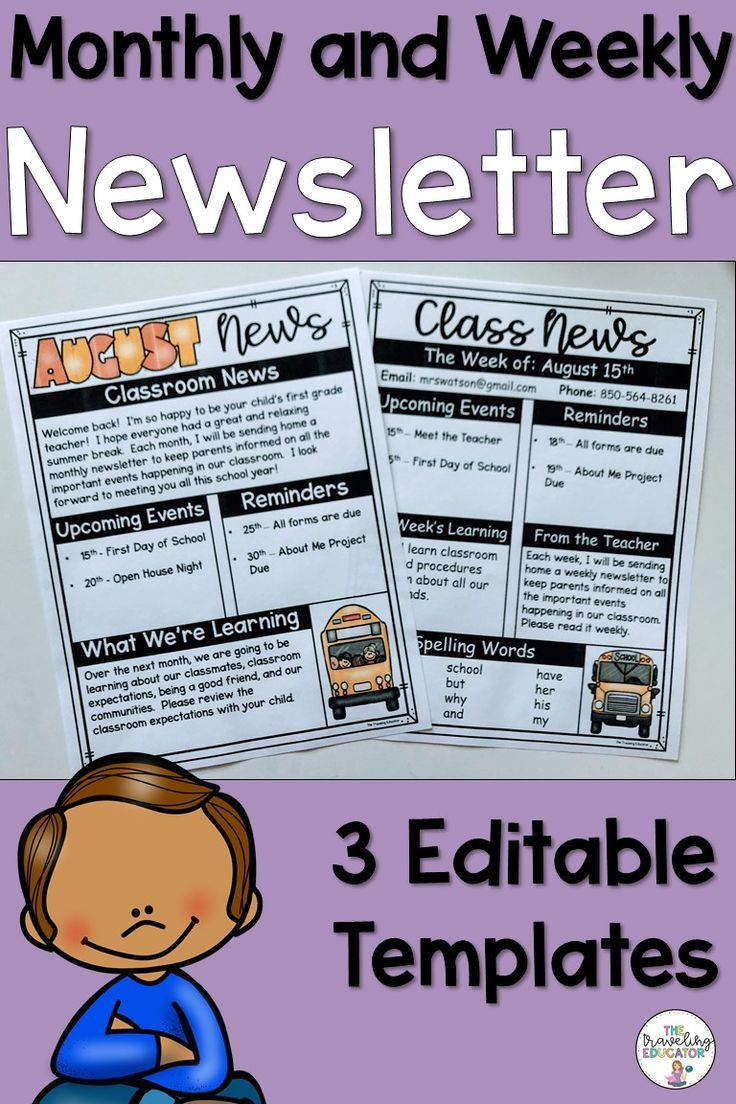 Newsletter Template Editable Weekly | Kindergarten