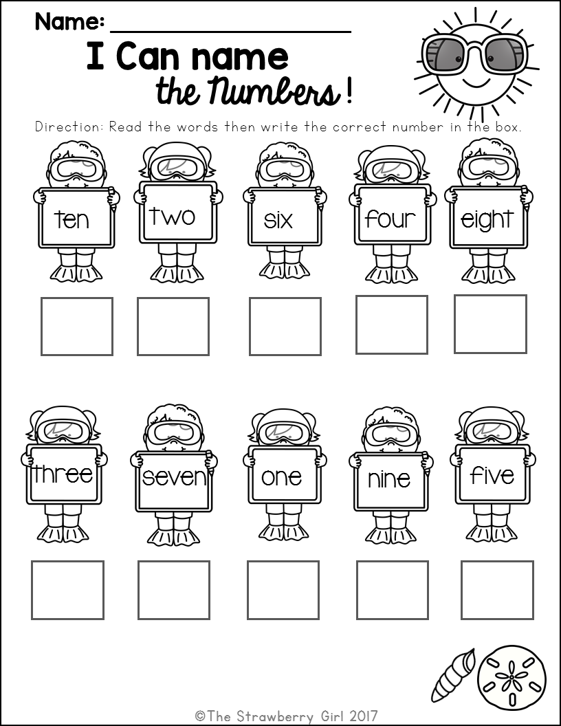 Kindergarten Math Worksheets - Summer | First Grade