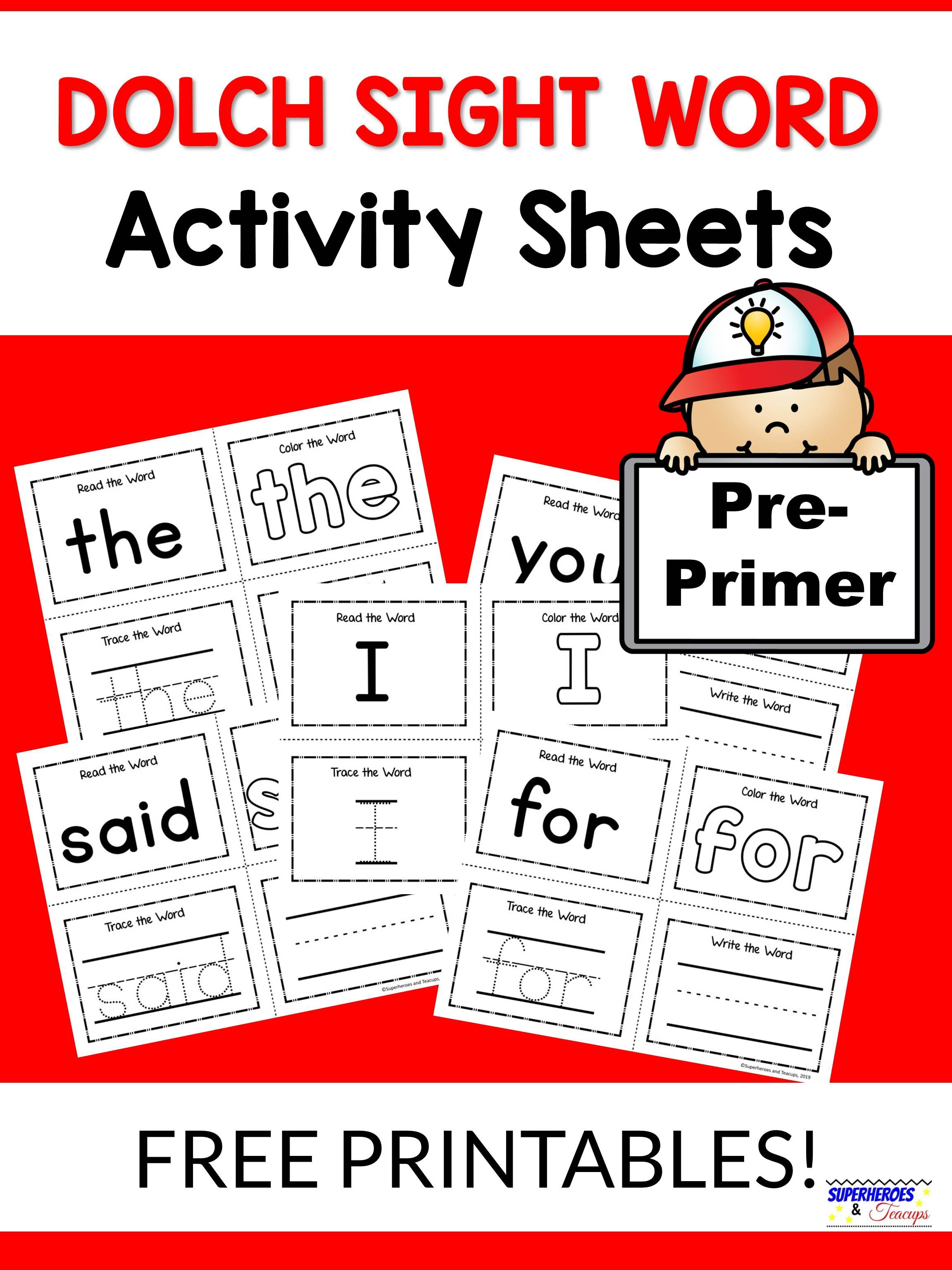 Pre-primer Dolch Sight Word Activity Sheets | Kindergarten