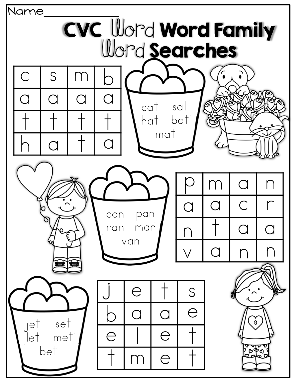 Simple Cvc Word Searches! | School Stuff | Kindergarten