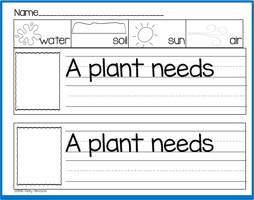 "A Plant Needs"" (free; From Sharing Kindergarten Via"