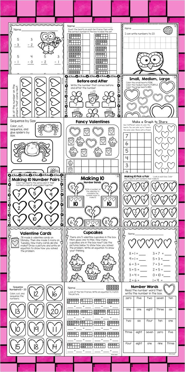 Valentine Kindergarten Math Activities And Worksheets For The Common