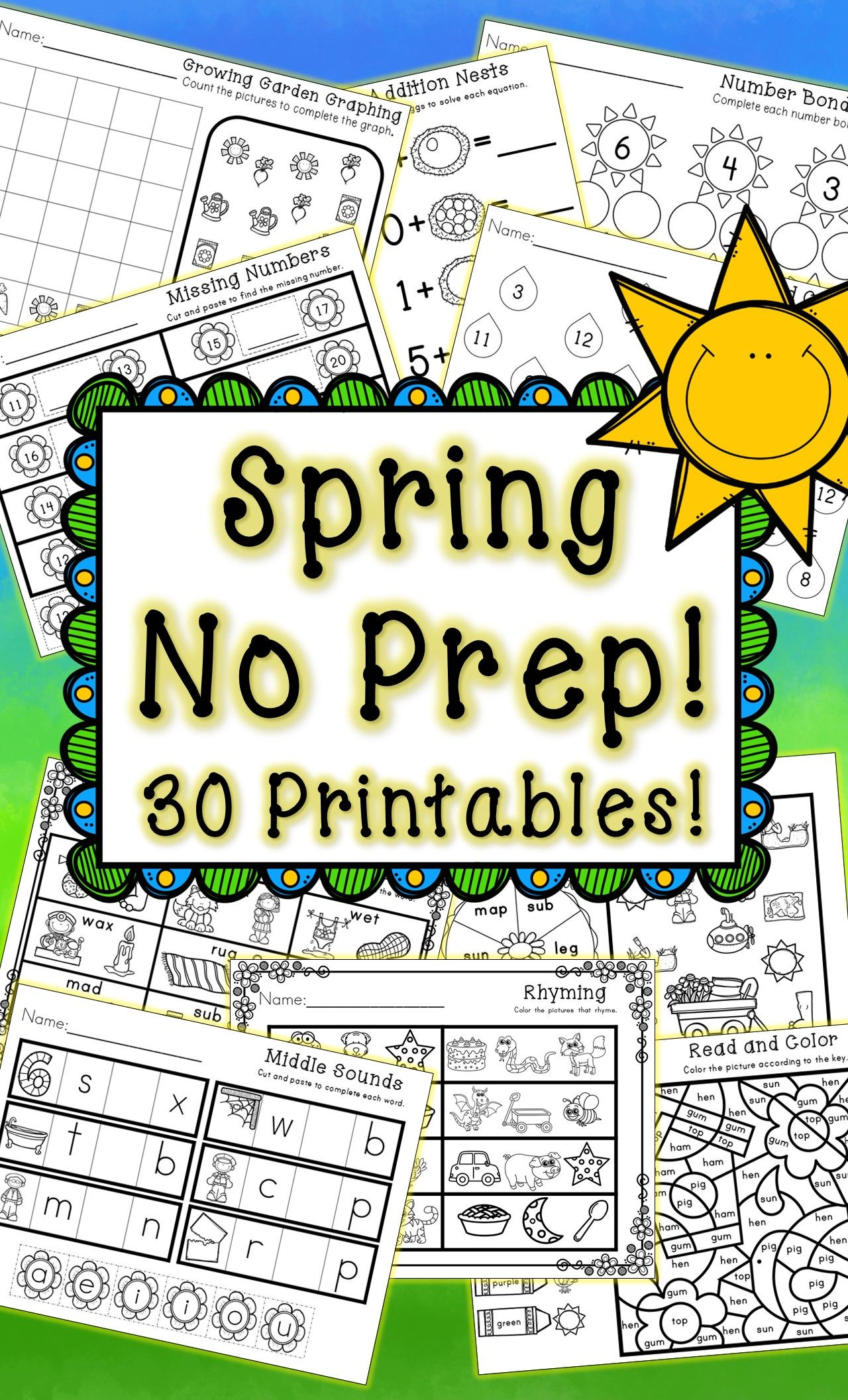 Kindergarten Spring Activities - Math And Literacy - No Prep