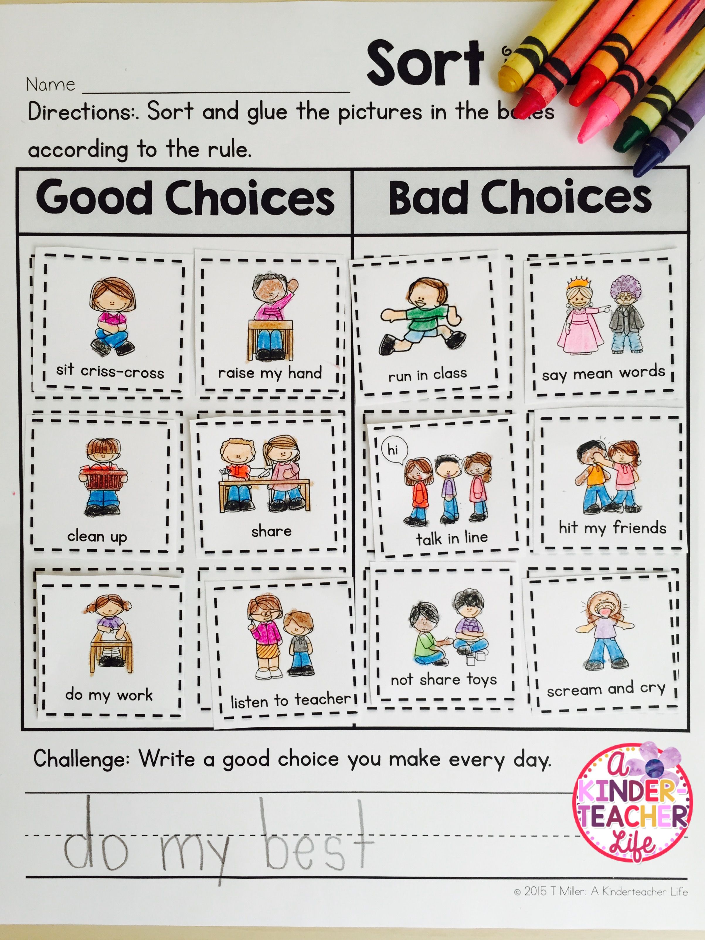 Good Choice Bad Choice Sort | Best Of Kindergarten