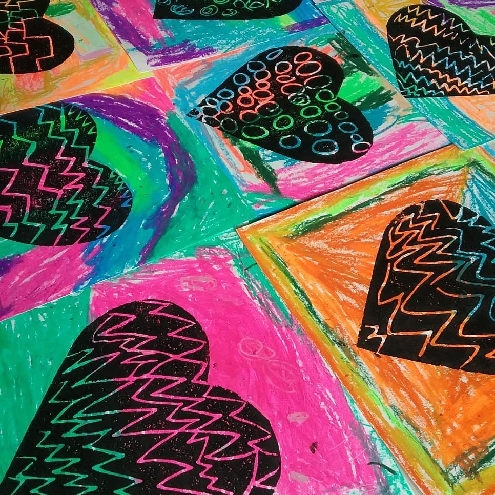 Printing Patterned Hearts In Kindergarten Decided To Try
