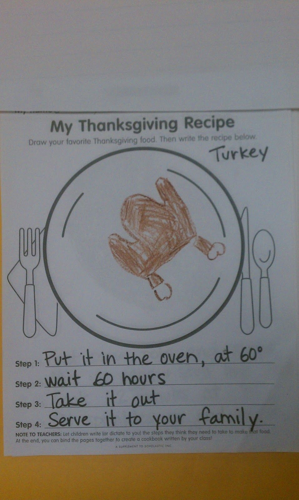 Thanksgiving Cookbook: Adventures In Kindergarten - So Funny