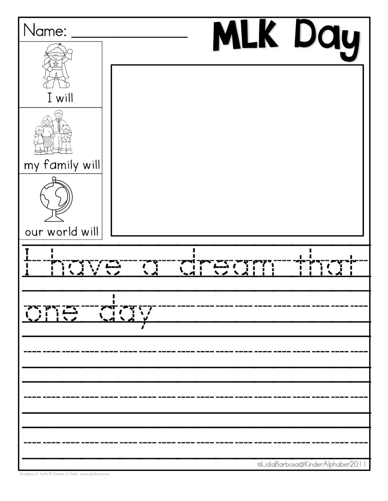 Martin Luther King Coloring Pages | Kindergarten Writing