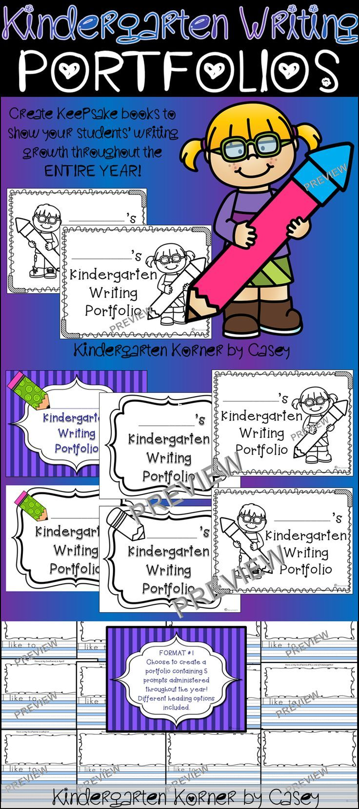 Kindergarten Writing Portfolio - Progress Monitoring Prompts