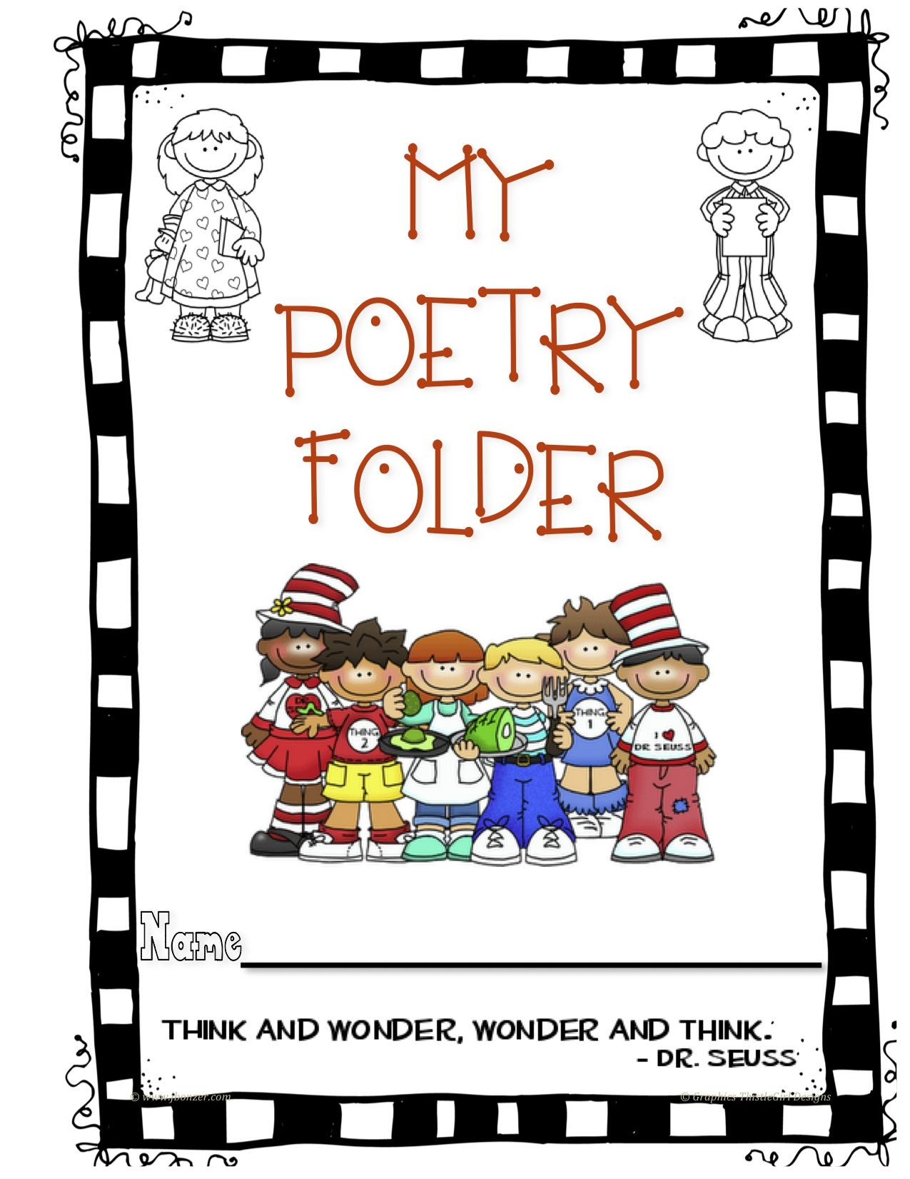 Poetry Folder Cover | Kindergarten Poetry, Poetry Journal