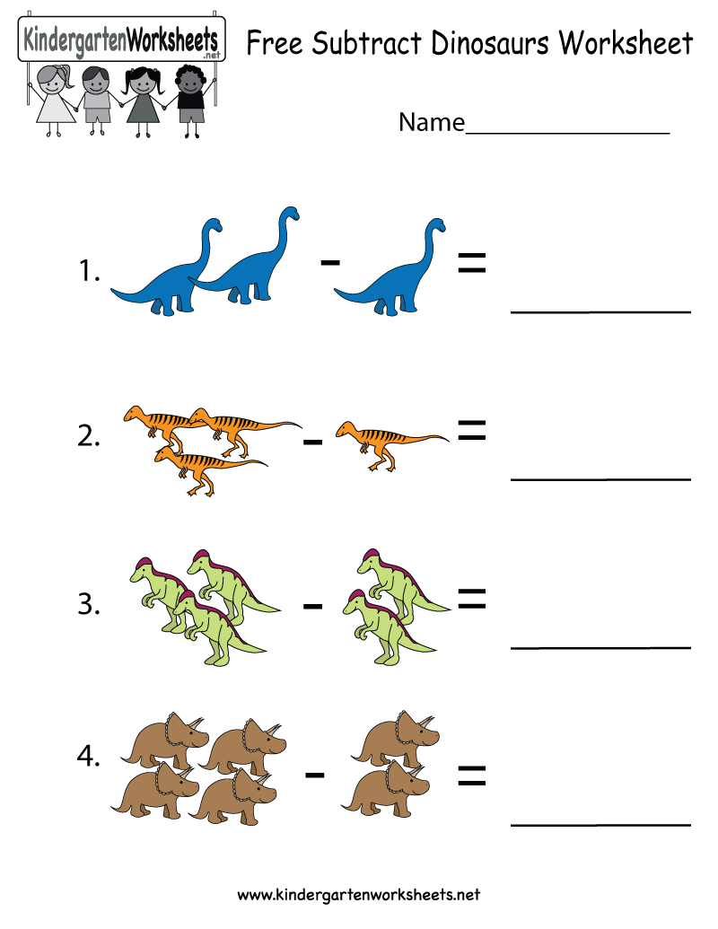 Dinosaurs Subtraction Worksheet For Kindergarteners This
