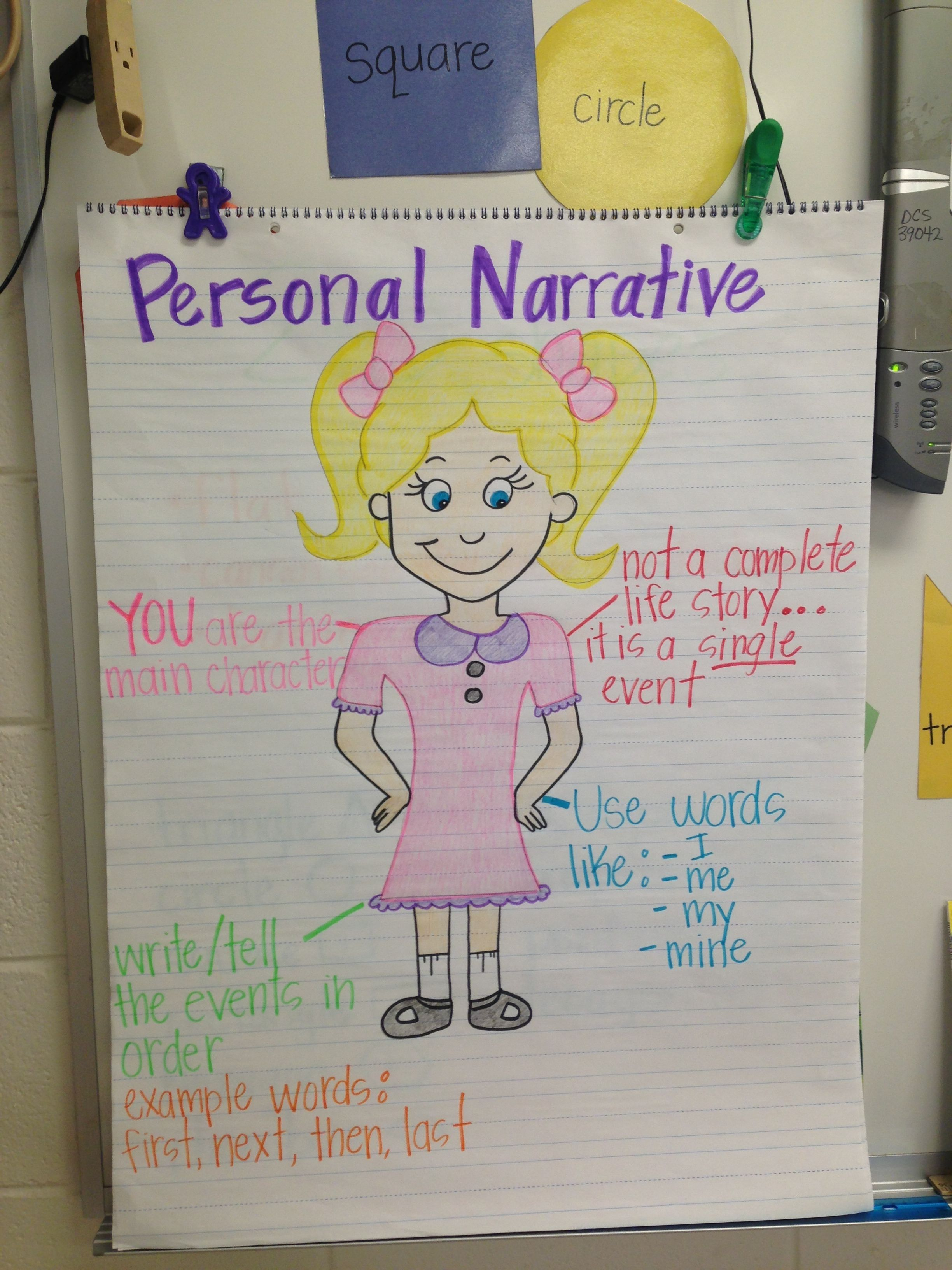 Personal Narrative Anchor Chart Kindergarten Writing