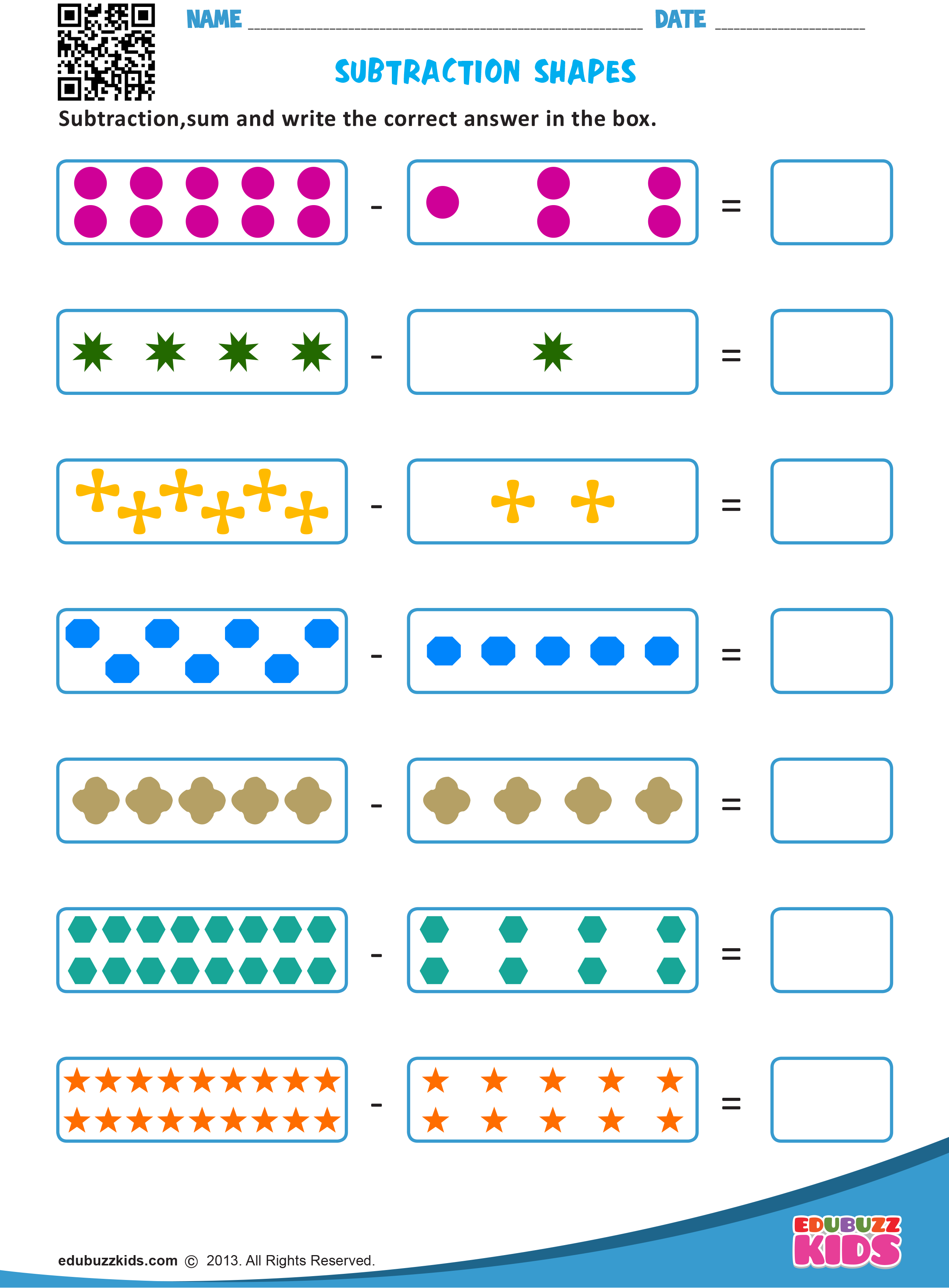 Kindergarten Subtraction With Shapes Worksheets That Allow