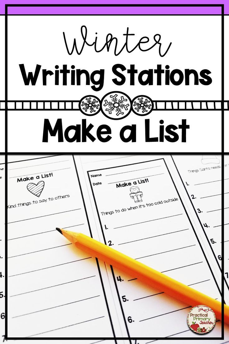 Winter Writing Lists | Writing Lists, Kindergarten Writing