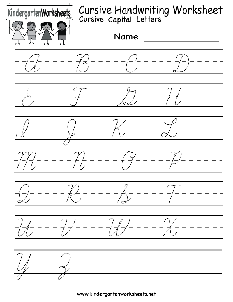 Kindergarten Cursive Handwriting Worksheet Printable Seeing