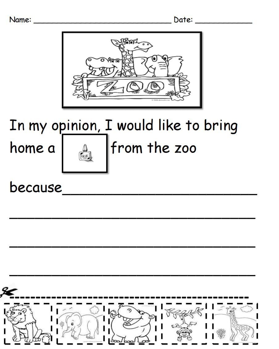 What Would You Bring Home From The Zoo? Kindergarten Writing