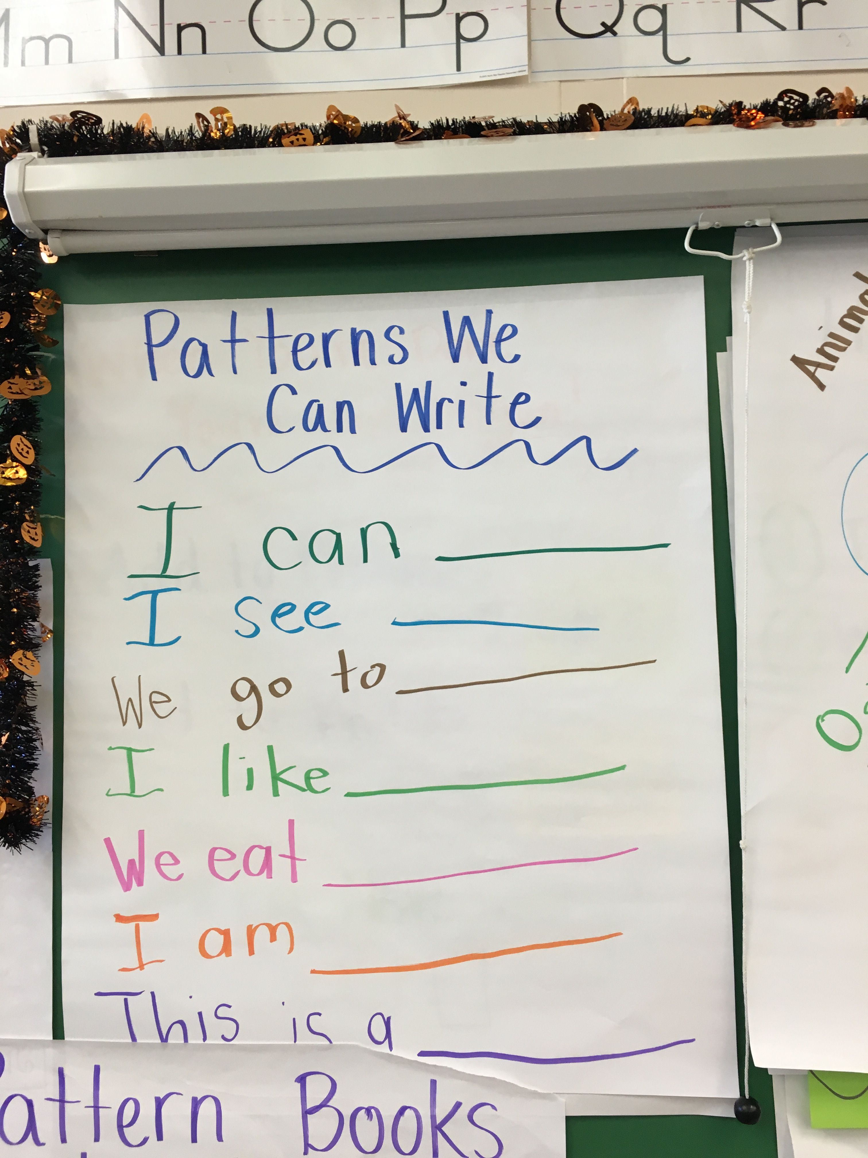 Pin About Writing Anchor Charts On Kindergarten Pattern Books