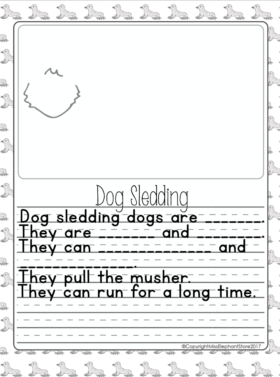 Kindergarten / Grade 1 Writing Prompts (january) | Picture