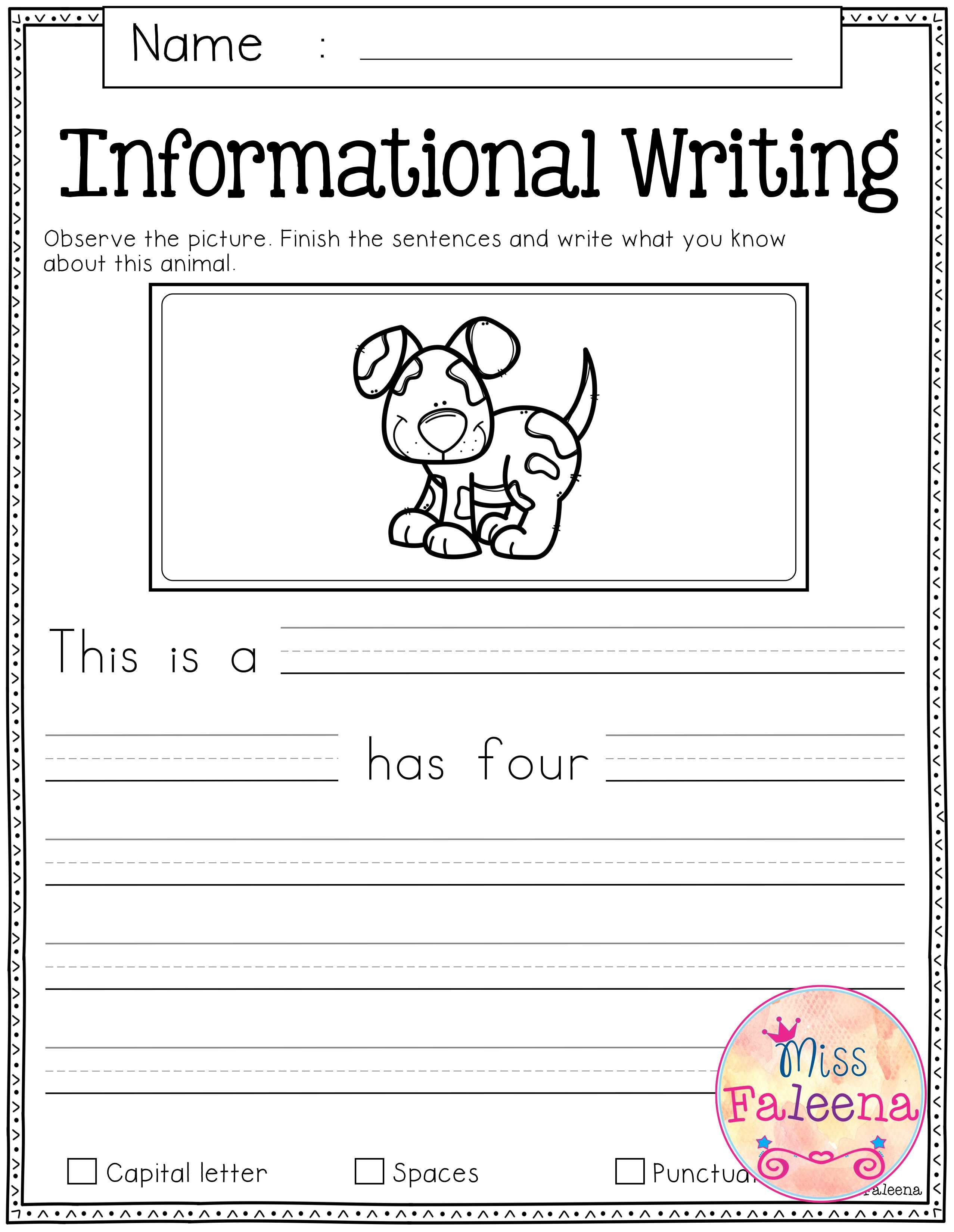 Free Writing Prompts | Informational Writing, Kindergarten