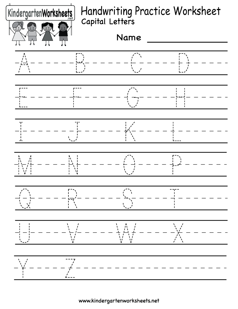 Kindergarten Handwriting Practice Worksheet Printable
