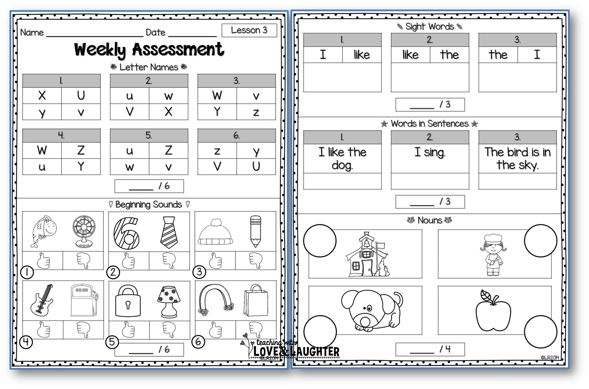 Weekly Assessments Unit 1 {for Use With Kindergarten
