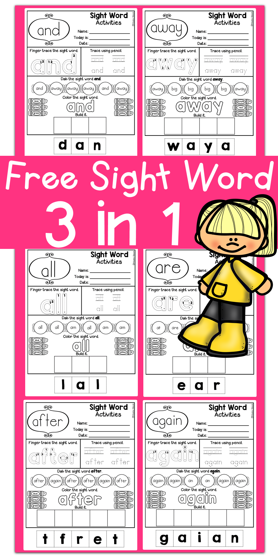 Free Kindergarten Sight Word Practice You Will Have 133 Pages Of